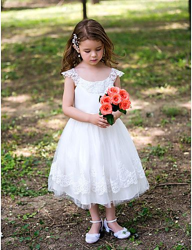 Princess Scoop Tea-length Satin Flower Girl Dress With Lace – USD $ 44.99