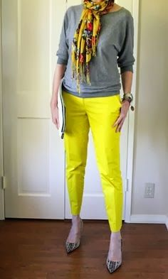 yes, a nit loud, but well put together  Yellow jeans and amazing scarf inspiration | Fashion World