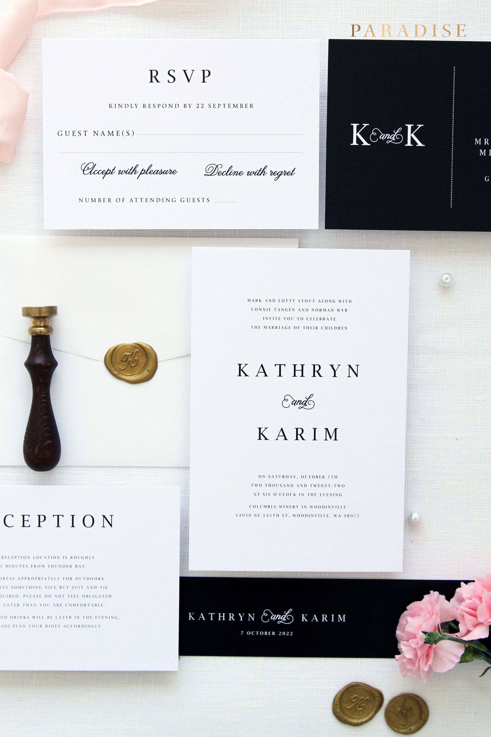 elegant black and white wedding invitation suite with gold wax seals