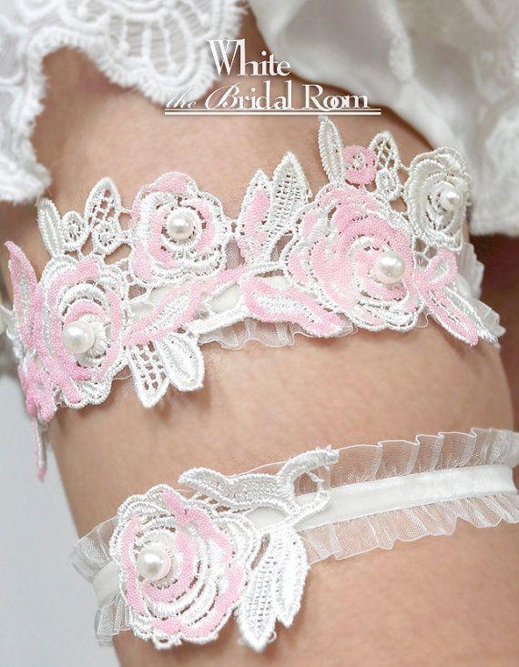 Pink Floral Bridal Garter Set White Ruffles by theWhiteBridalRoom #wedding