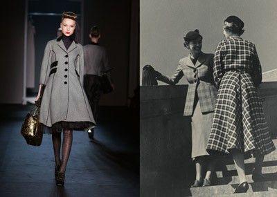 La pièce maitresse des années 1940 (interprétée par Schiaparelli à droite)  en force cet hiver, à gauche en version pied-de-poule par Moschino. 38465e574a73