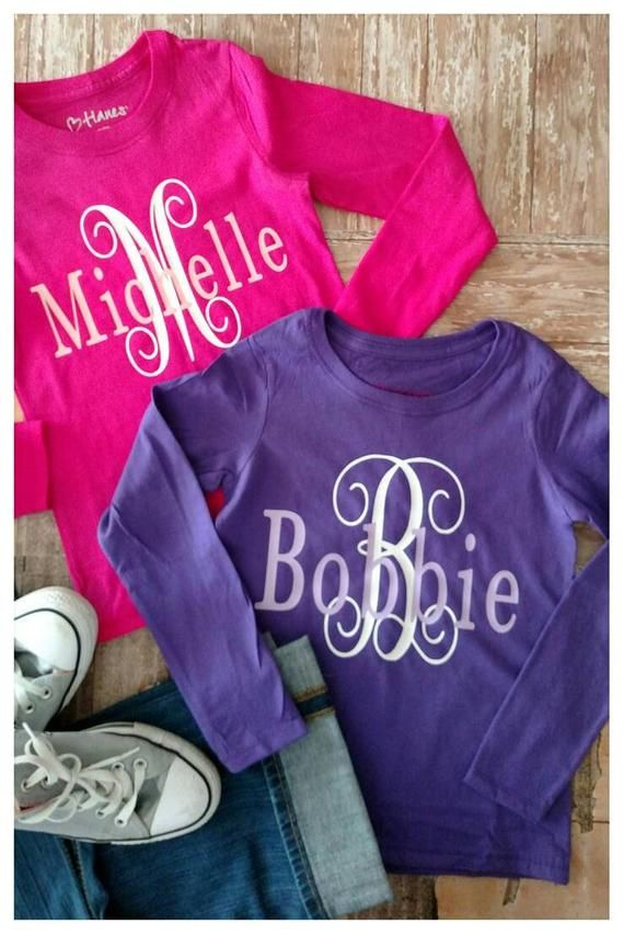 Monogram Shirt For Girls Initials Shirts Birthday Preppy Lo