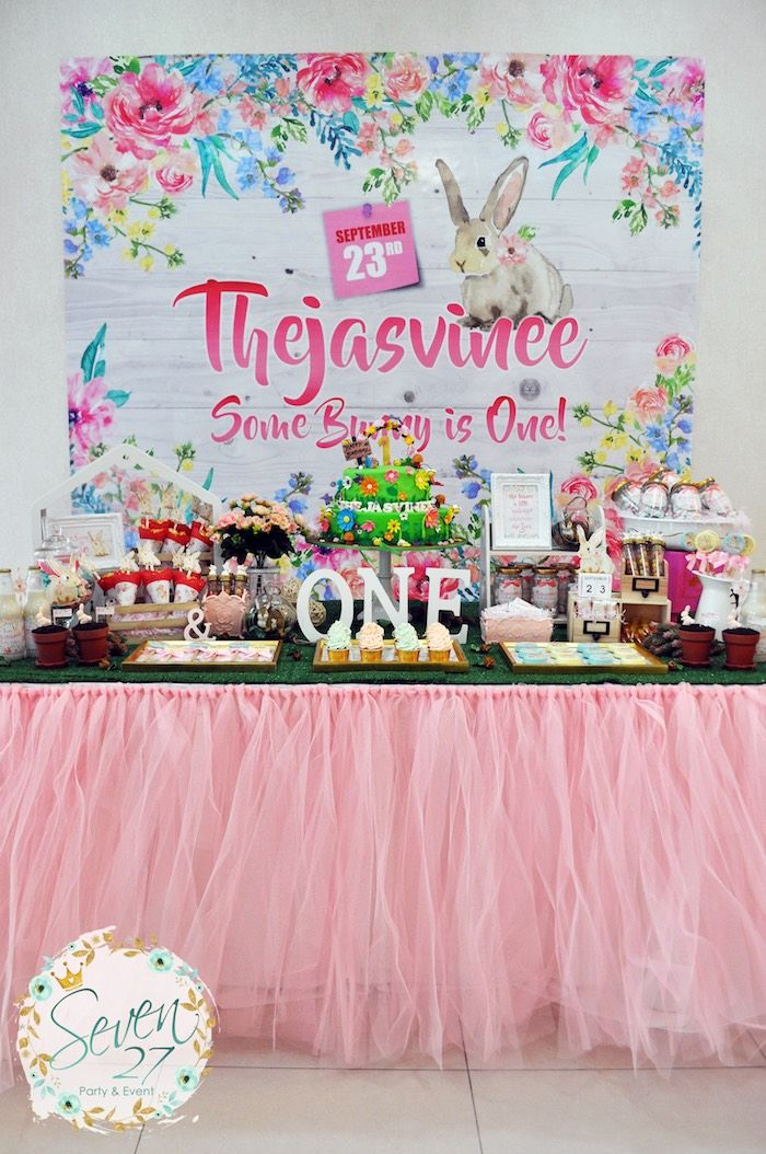 Bunnies in Springtime Birthday Party Birthdays and Babyshower