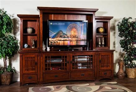Brown Cherry Wood Route 66 Entertainment Wall 3439bc Traditional Entertainment Center Furniture