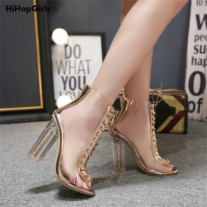 2018 New Hot Roman Women Pumps Cross tied High Heels Shoes Summer PVC  Transparent crystal Square Sandals Boots Woman   Price   26.95   FREE  Shipping      ... 0a7607f07812