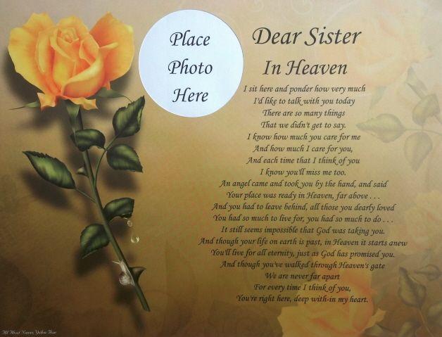 Dear sister in heaven memorial poem gift for loss of loved