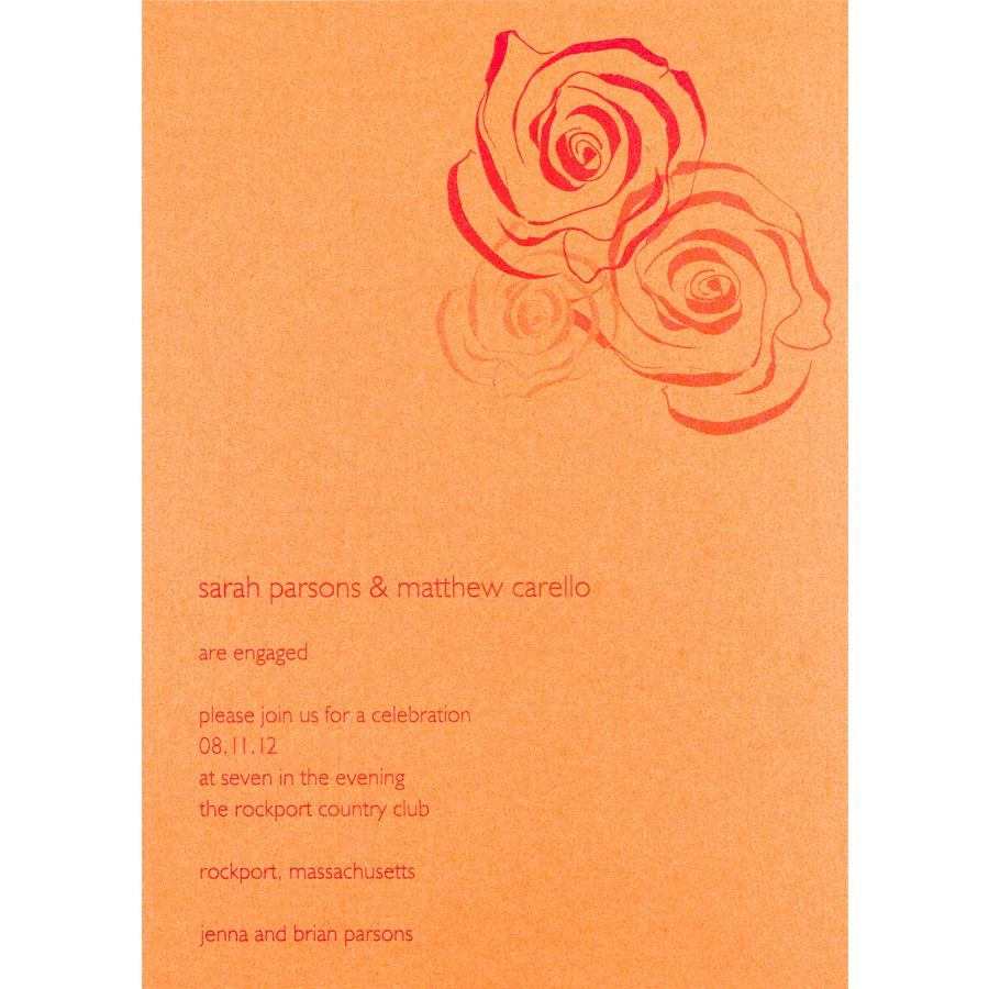 Love The 3 Roses And Tangerine Color  Engagement Card Template