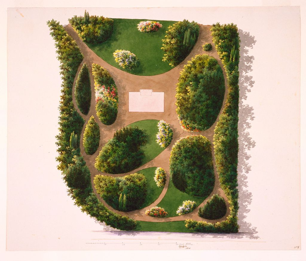 Jan David Zocher the Younger, design for a garden, 1856. Drawing.