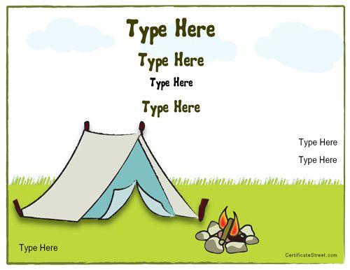 Blank Certificates  Camping Certificate  CertificatestreetCom