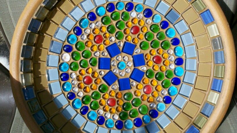 Glass Tile Terra Cotta Birdbath Glass tile, Glass, Bird bath