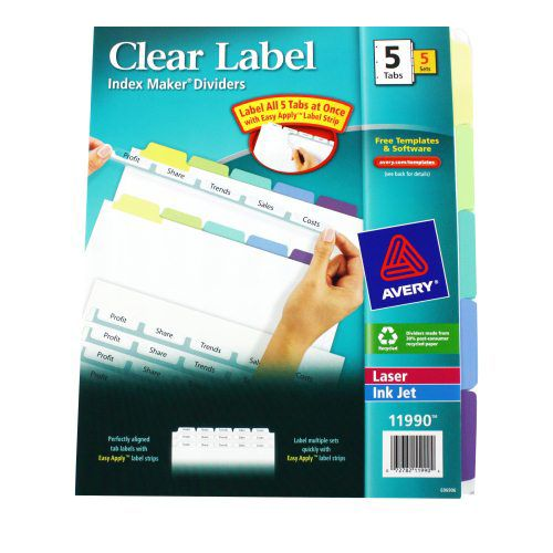 avery 5 tab multicolor index maker clear label dividers 5pk index