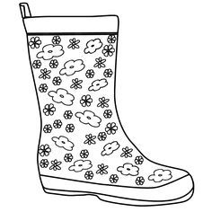 Rain Boot Coloring Page Kolorowanki Proste Prace Plastyczne