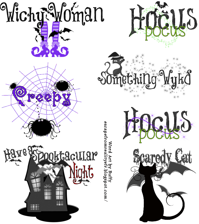 ftu halloween word art by buffy many of the images used are clip art and can be purchased at miss kates cuttables wwwmisskatecuttables