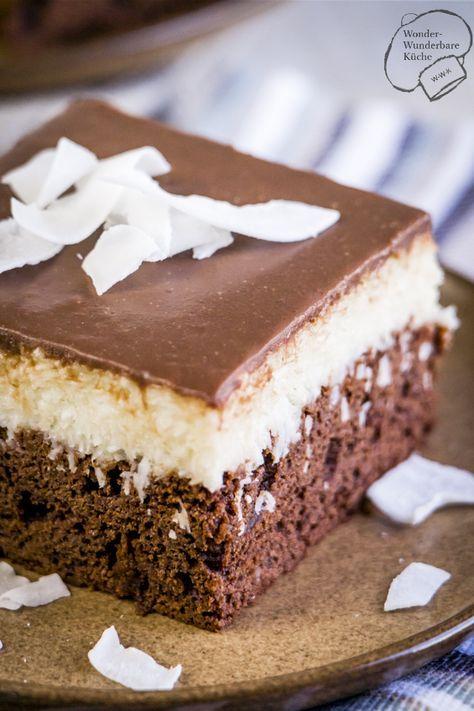 Super Schokoladiger Kokos Schokoladen Kuchen Vom Blech Bounty