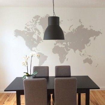 diy mappemonde murale peindre une carte du monde sur son. Black Bedroom Furniture Sets. Home Design Ideas