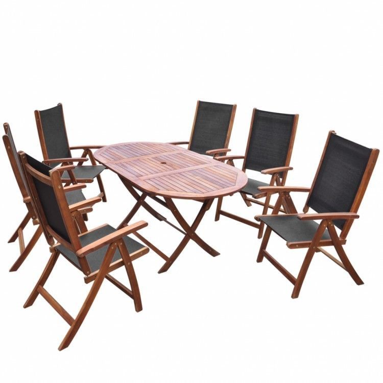 Patio Dining Set Table Chairs 7 Piece Folding Outdoor Deck Acacia