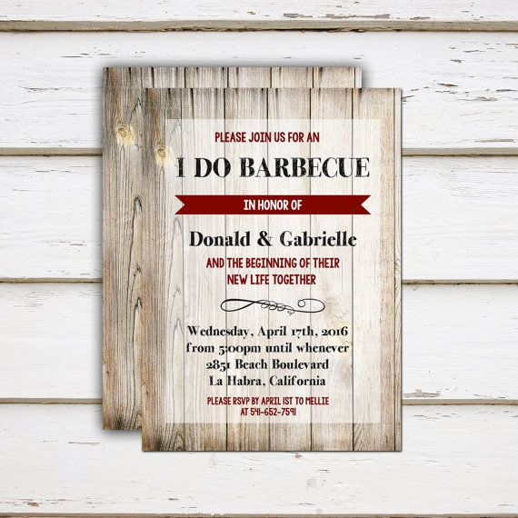 Printable I Do BBQ Couples Shower Elope Reception Invitation - invitation wording for elopement party