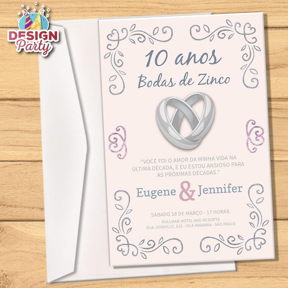 Convite Digital Bodas De Zinco 10 Anos Bodas De Estanho