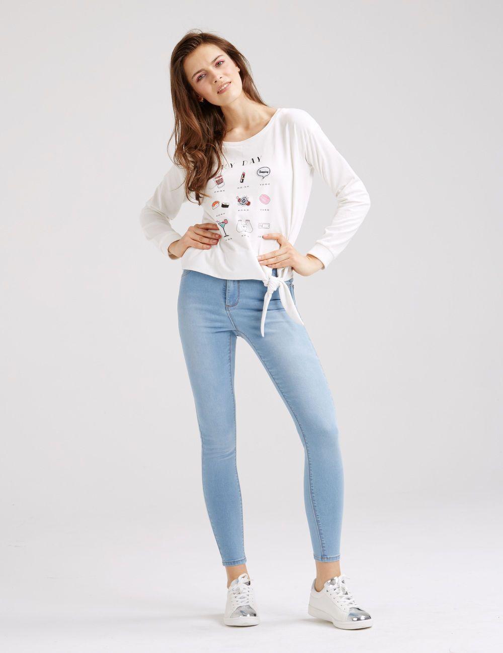 cf2ff9ffeb1 Jean super skinny taille haute bleu clair femme • Jennyfer