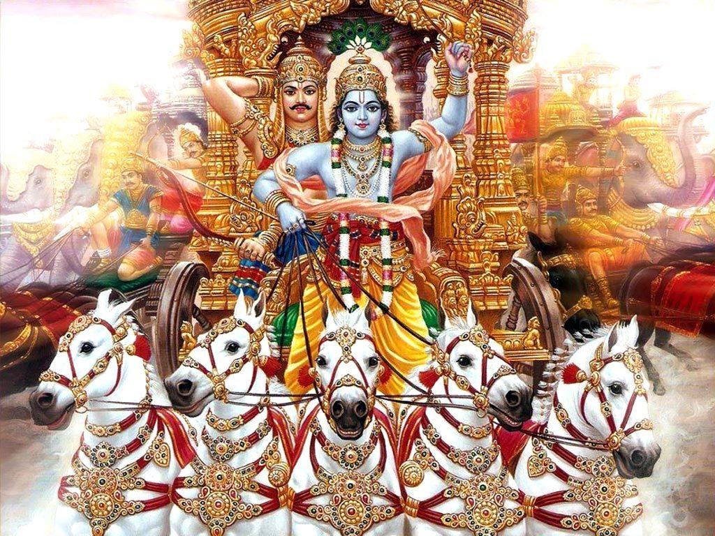 Resultado de imagem para Krishna e Arjuna