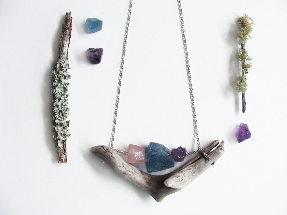 This modern-day amulet is a shorter style driftwood necklace. It is a unique piece of wearable art. It sits on a neat and very lightweight golden chain ... This piece can be worn all day with no discomfort! Each necklace is a one-of-a-kind labor of love.Minerals can raise energy to the highest possible level. It is the most powerful healing energy amplifier on the planet.> Rose Quartz - Is known as the love stone. It helps the user feel a strong sense of self-worth, there...