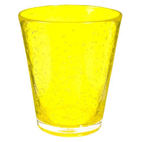 Vaso ancho de cristal con burbujas amarillo