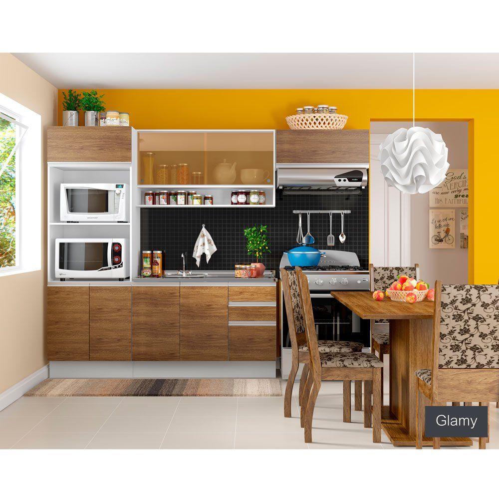 Cozinha Compacta Madesa Glamy Antonella 8 Portas 2 Gavetas