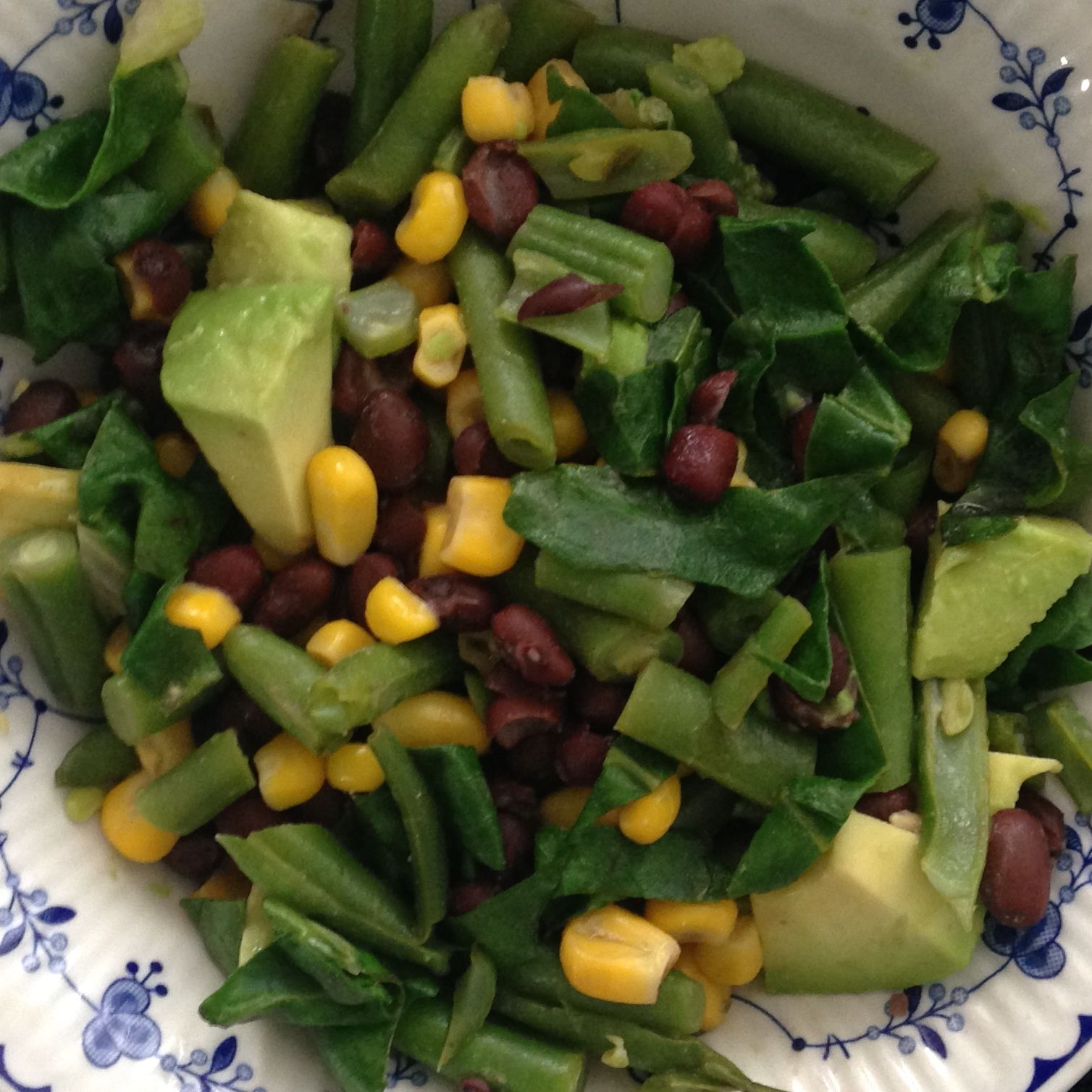 """""""Let food by thy medicine, and let thy medicine be food."""" Hippocrates. Homemade black beans with kombu, fresh thyme & garlic. Green beans. Collard greens. Avocado. Corn. Collard greens are anti-oxidant, anti-inflammatory, cholesterol lowering ability and have B vitamins and fiber."""