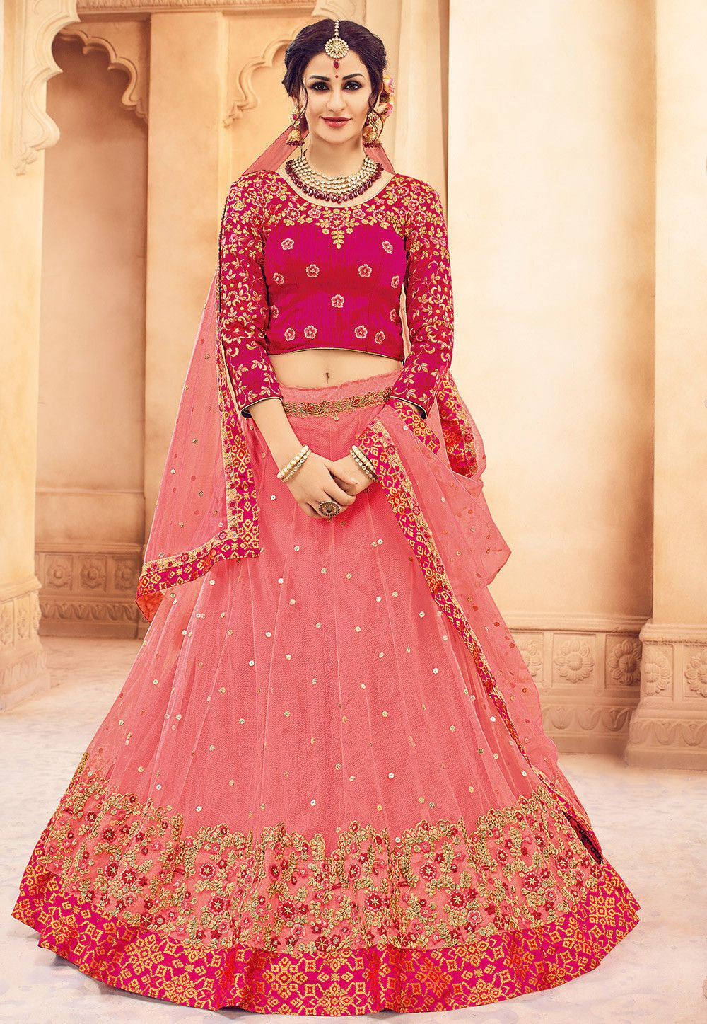 Embroidered net circular lehenga in pink indian and american