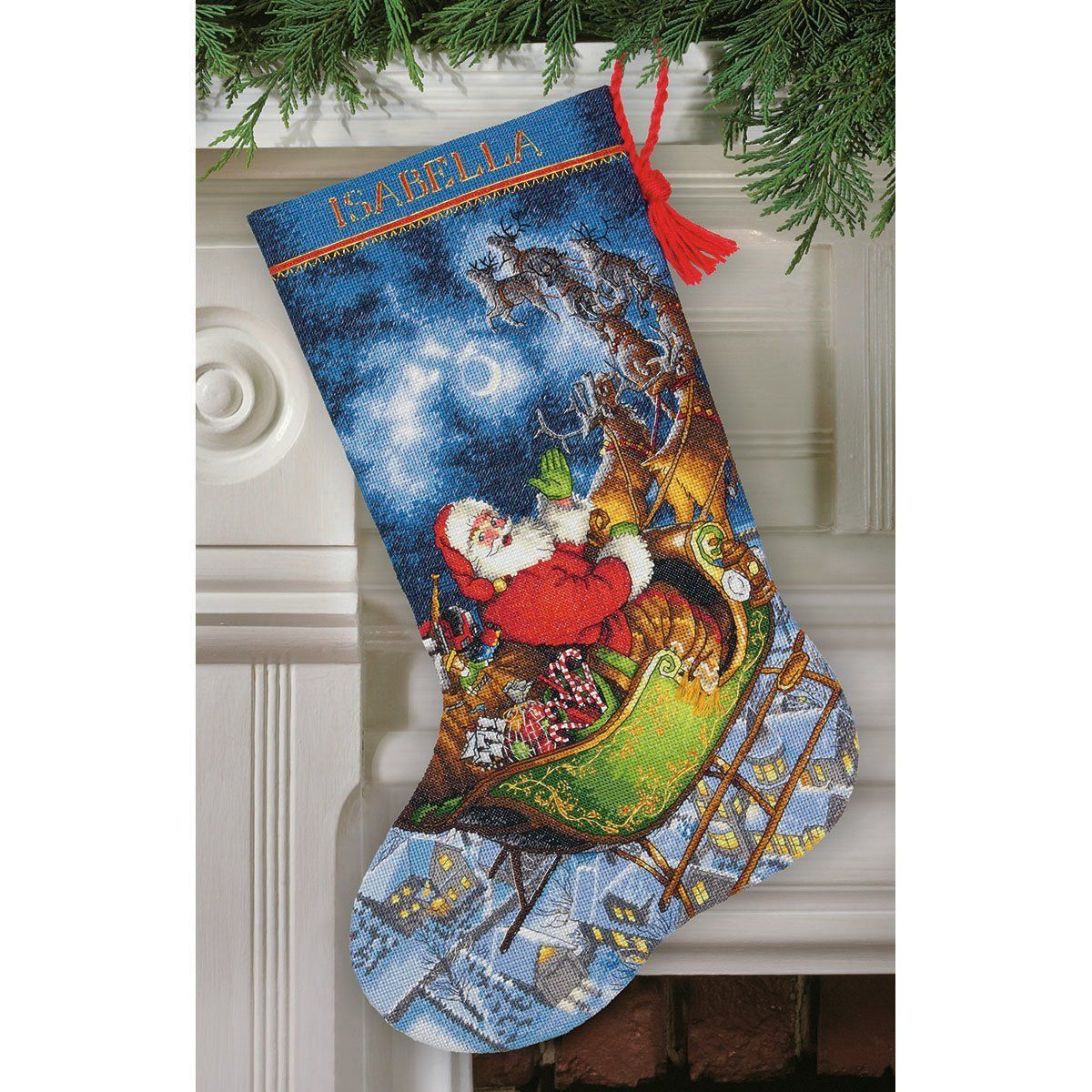 16 Dimensions Gold Collection Counted Cross Stitch Santas Flight Personalized Christmas Stocking Kit 16 Count Grey Aida