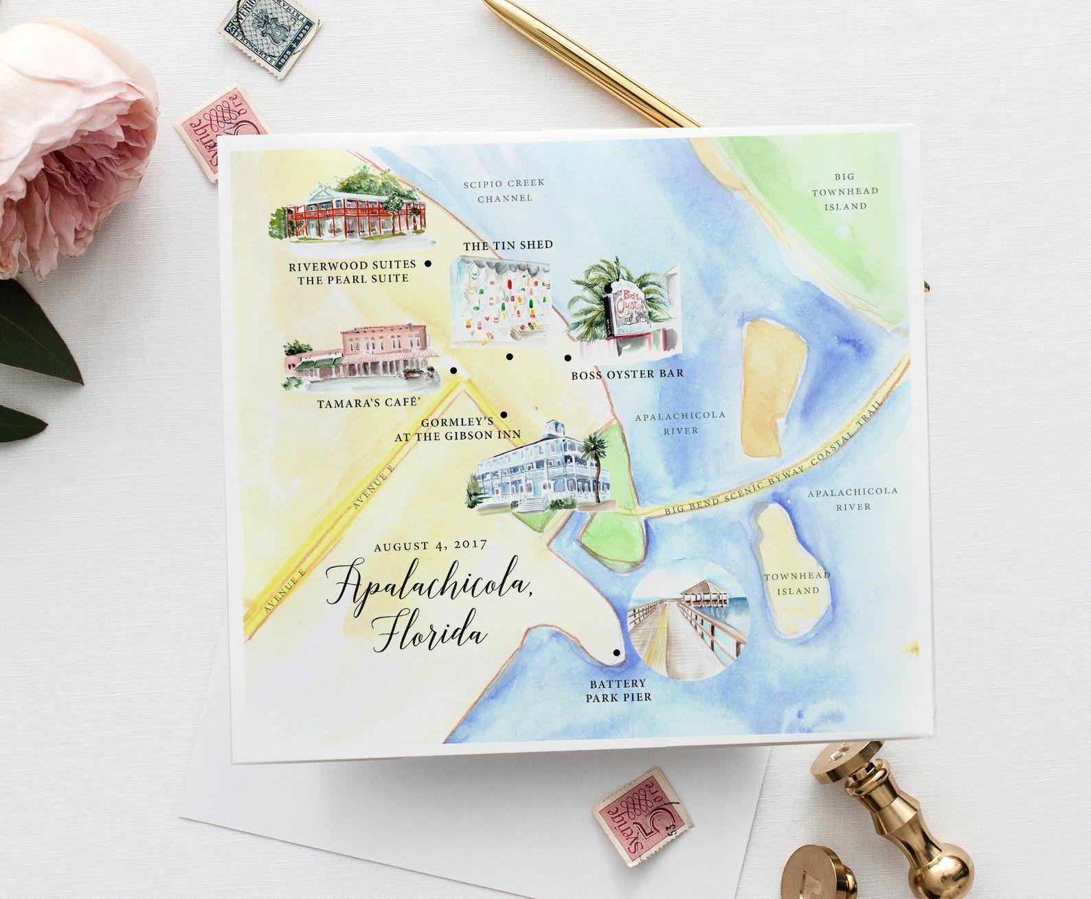 Custom Watercolor Map Custom Wedding Map Printable Personalized