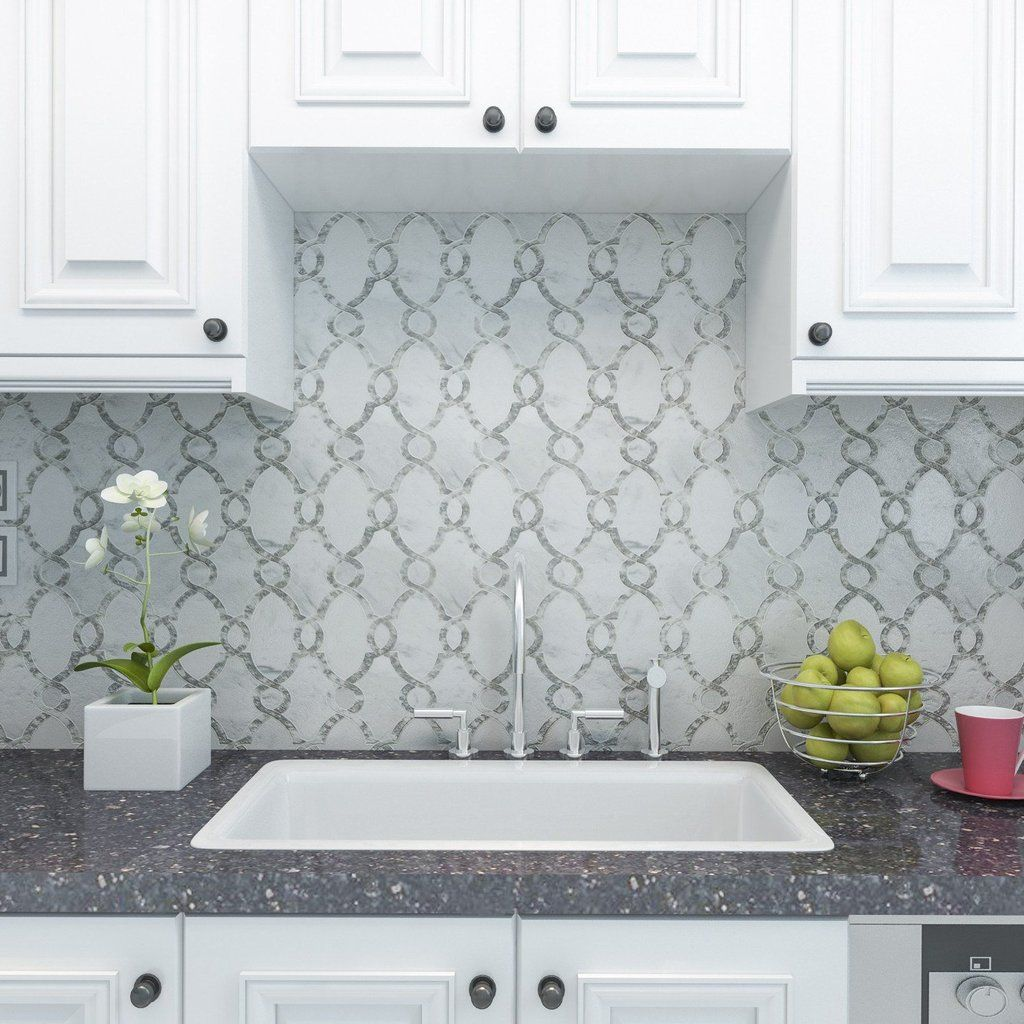 Carrara White Marble And Antique Mirror Glass Waterjet Mosaic Tile