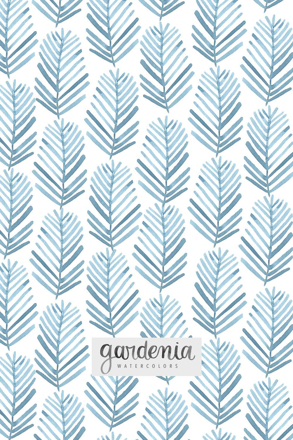 Hand Painted Watercolor Designer Repeating Pattern Blue And