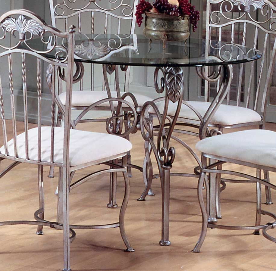 Hillsdale Bordeaux Round Dining Table With Glass Top Wrought Iron Dining Table Wrought Iron Chairs Dining Rooms Glass Dining Room Table