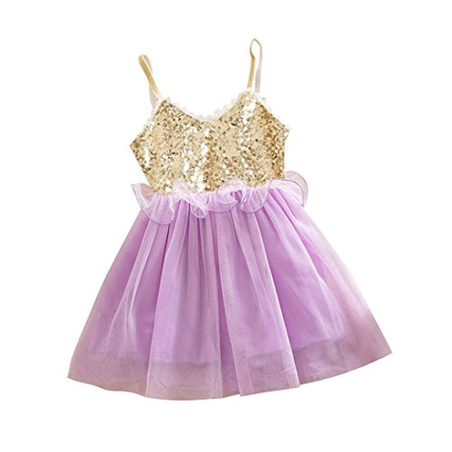 Lilac dress for wedding  Bigface Up Little Girls Princess Sequins Tulle Party Wedding Dress