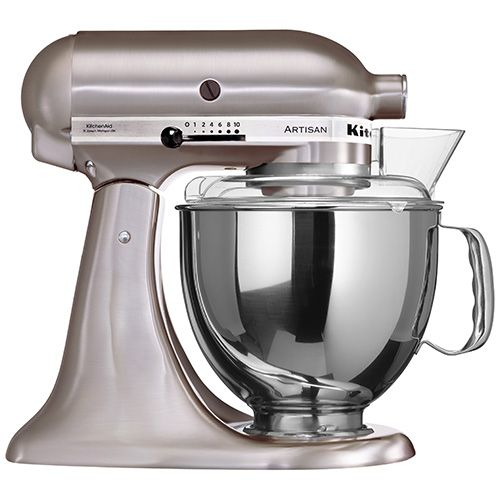 KITCHENAID ARTISAN MIXER - BRUSHED NICKEL. Hand constructed from full die-cast metal. Original KitchenAid planetary action eliminates the need to rotate the bowl. Silent, reliable and long lasting direct drive motor. KitchenAid 5 year guarantee. Includes: dough hook, flat beater, wire whisk, pouring shield and 4.8 litre stainless steel bowl. #mixer #kitchenaid #iconic