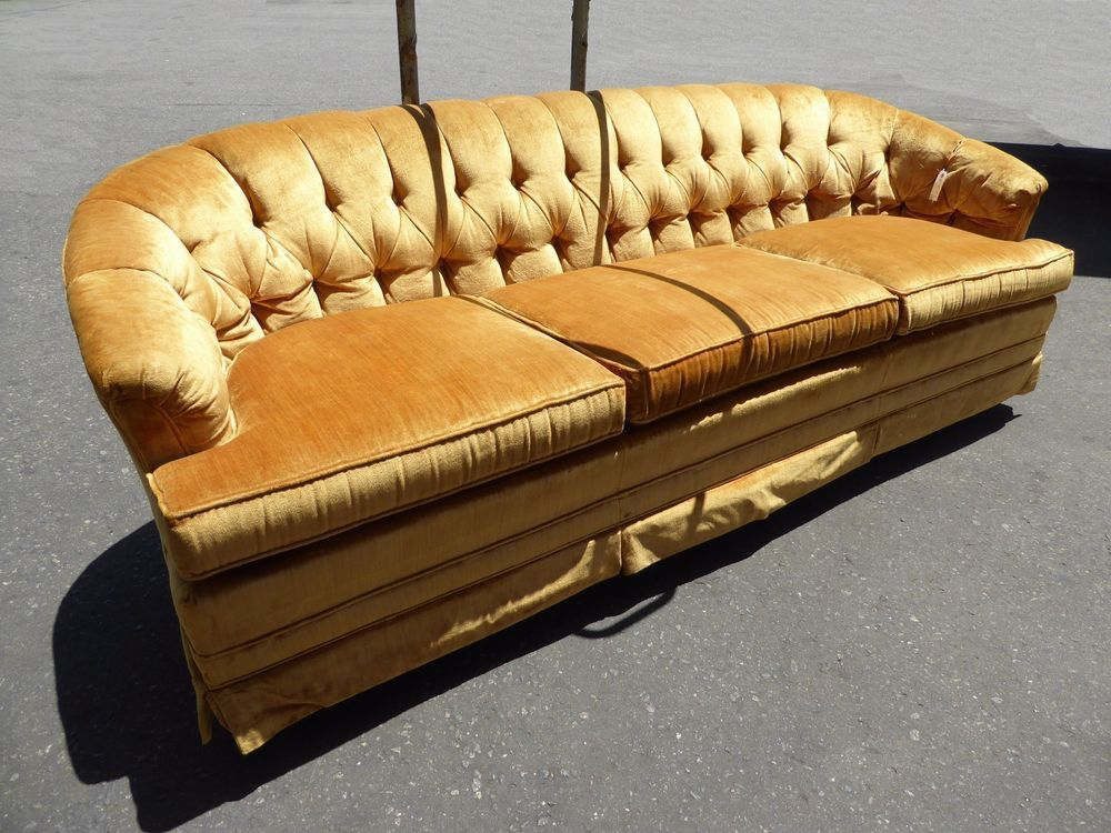 Vintage Mid Century Modern Gold Tufted Velvet Sofa Couch Hollywood Regency Modern Tufted Sofa Velvet Tufted Sofa Tufted Sofa
