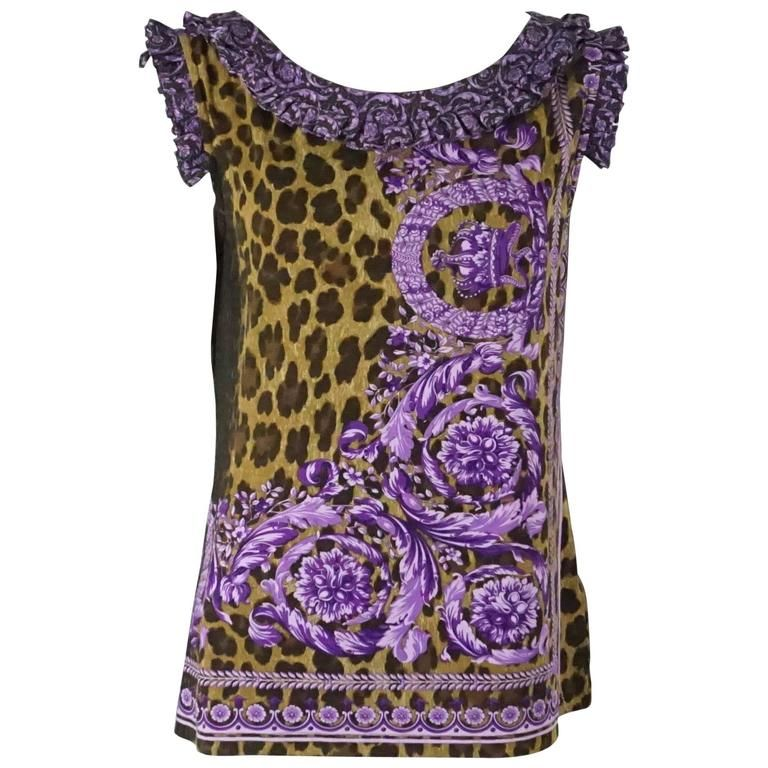 Versace Animal Print and Purple Cotton Top with Ruffles