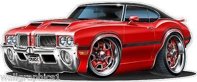 1970 71 72 Oldsmobile Cutlass 442 Turbo Fire Cartoon Car Wall Decal Vinyl decor    Toys & Hobbies, Models & Kits, Automotive   eBay!