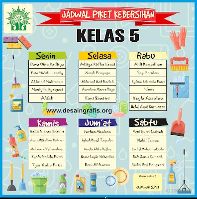 Desain Jadwal Piket Kebersihan Kelas Cdr Ide Ruang Kelas Belajar Kartu Catatan