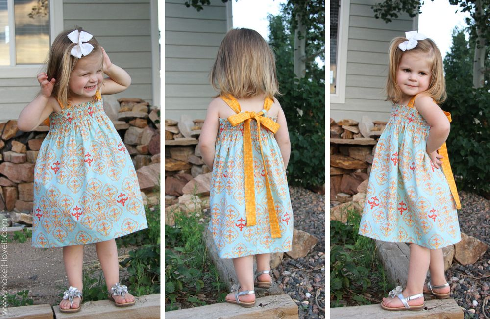 Shirred Summer Dress, with Tie-Back Bow | SEWING | Pinterest ...