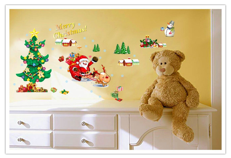 Wall Decals - YYone Christmas Santa Claus Sled Christmas Tree Wall ...
