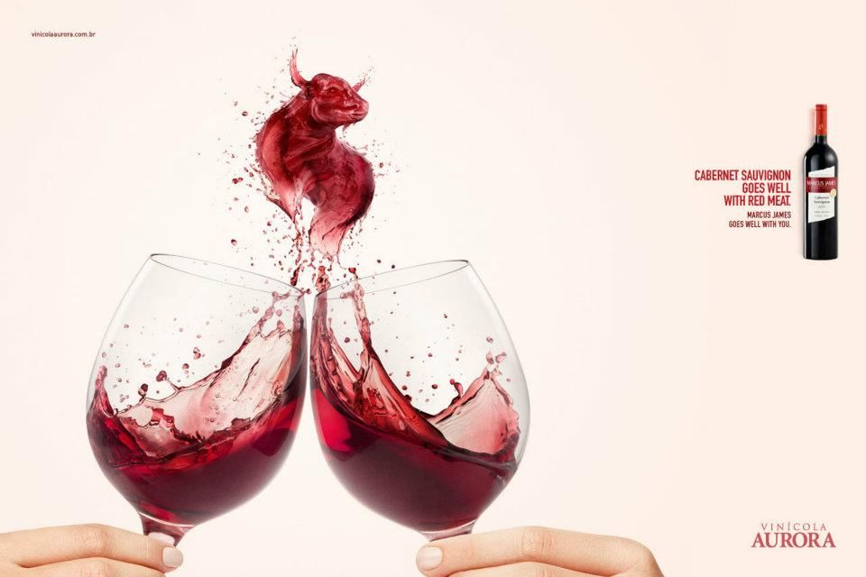 "Aurora Wines (2/2)    ""Cabernet sauvignon goes well with red meat. Marcus James goes well with you""  Advertising Agency: Dez Comunicação, Porto Alegre Brazil"