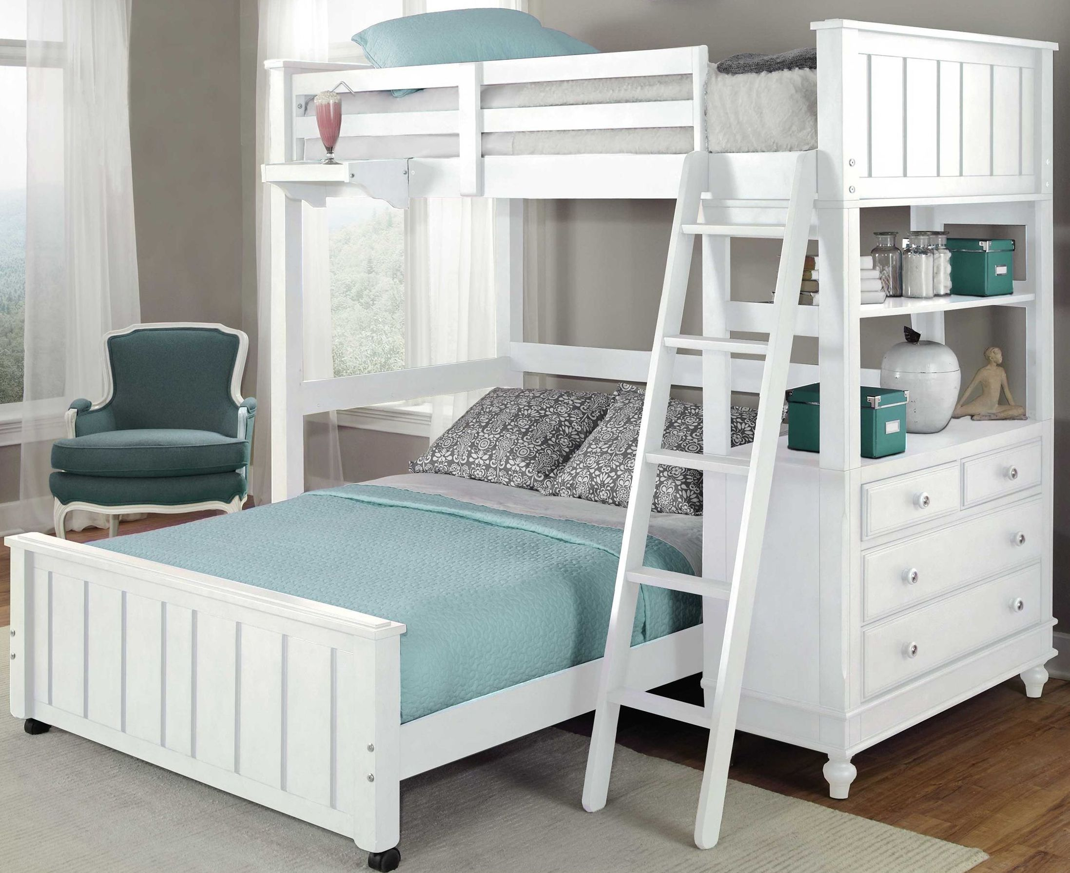 Lake House White Twin Loft Bed With Full Lower Bunk Beds Designs Stairs