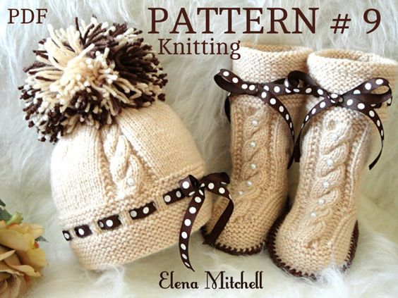 Knitting PATTERN Baby Set Babies Newborn Infant Baby Shoes Baby Hat ...