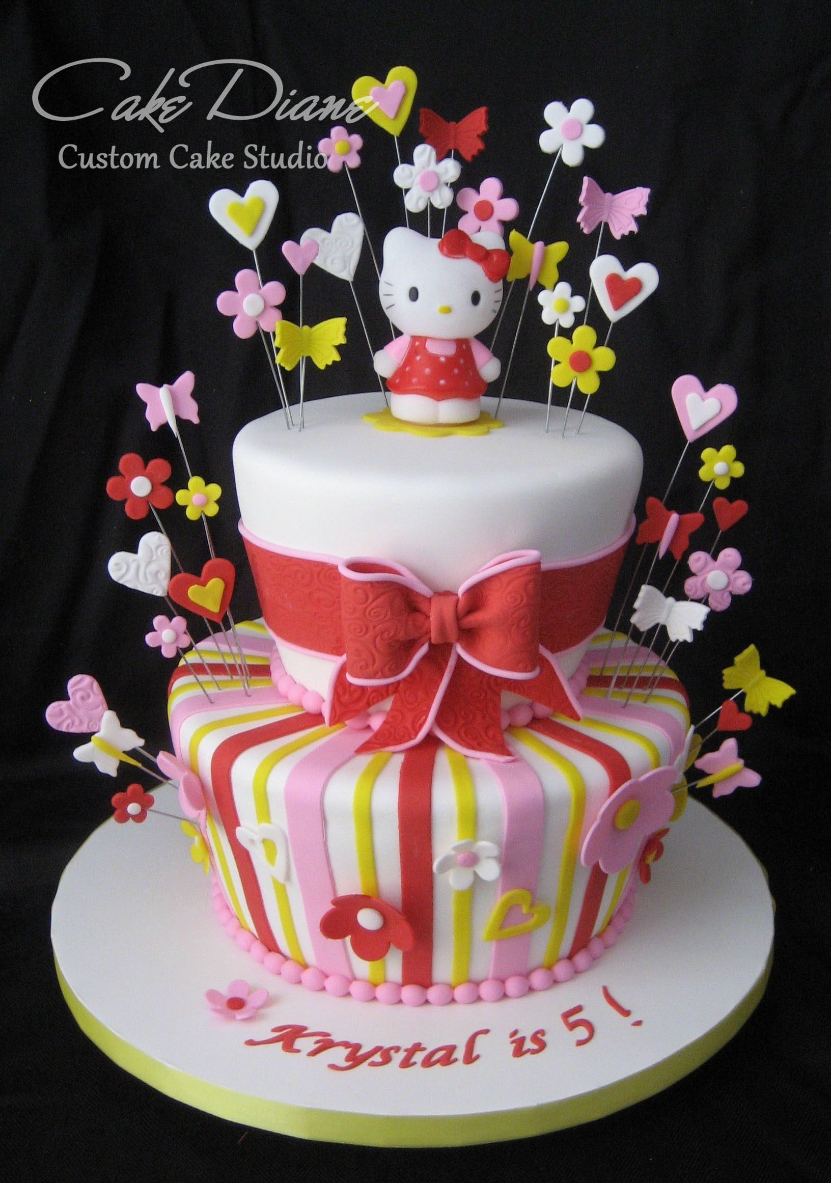 Hello Kitty red and pink cake with real toy topper Cakes for