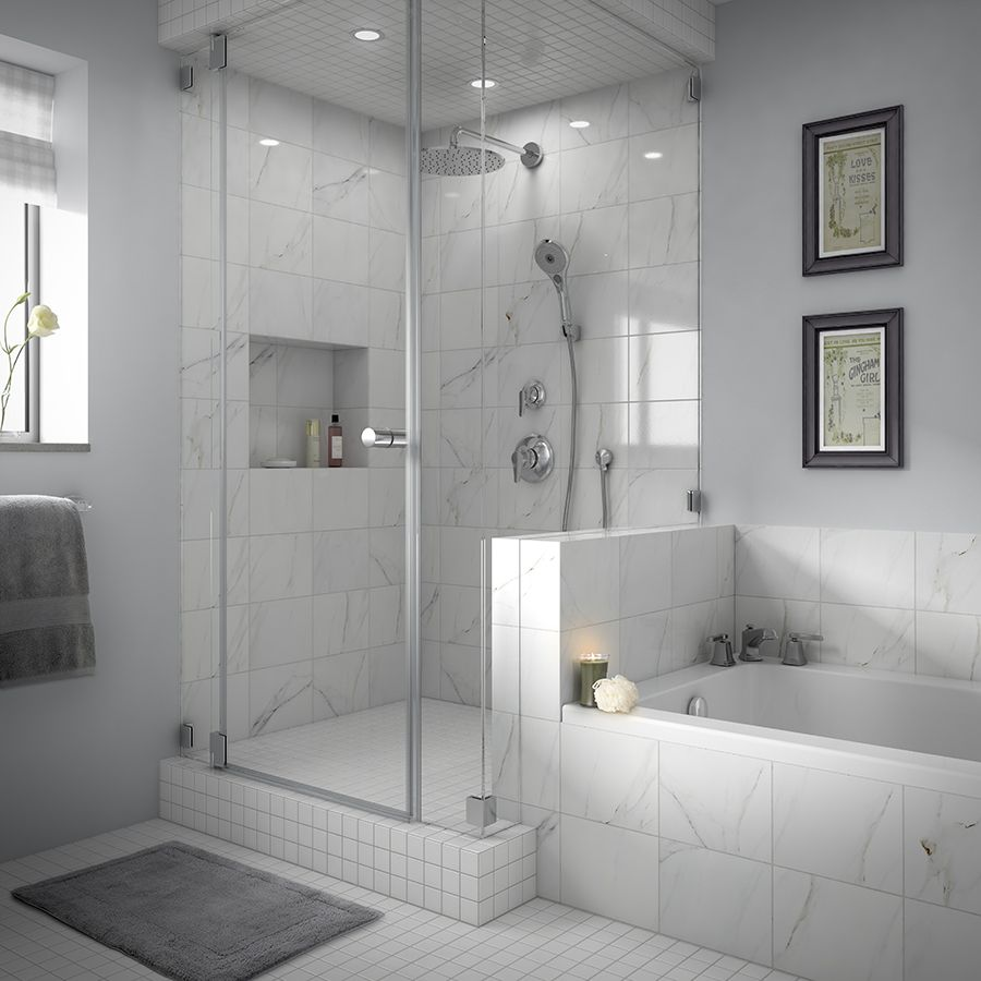 8x10 porcelain calacata look tile with 2in glazed white - Lowe s home improvement bathroom tile ...
