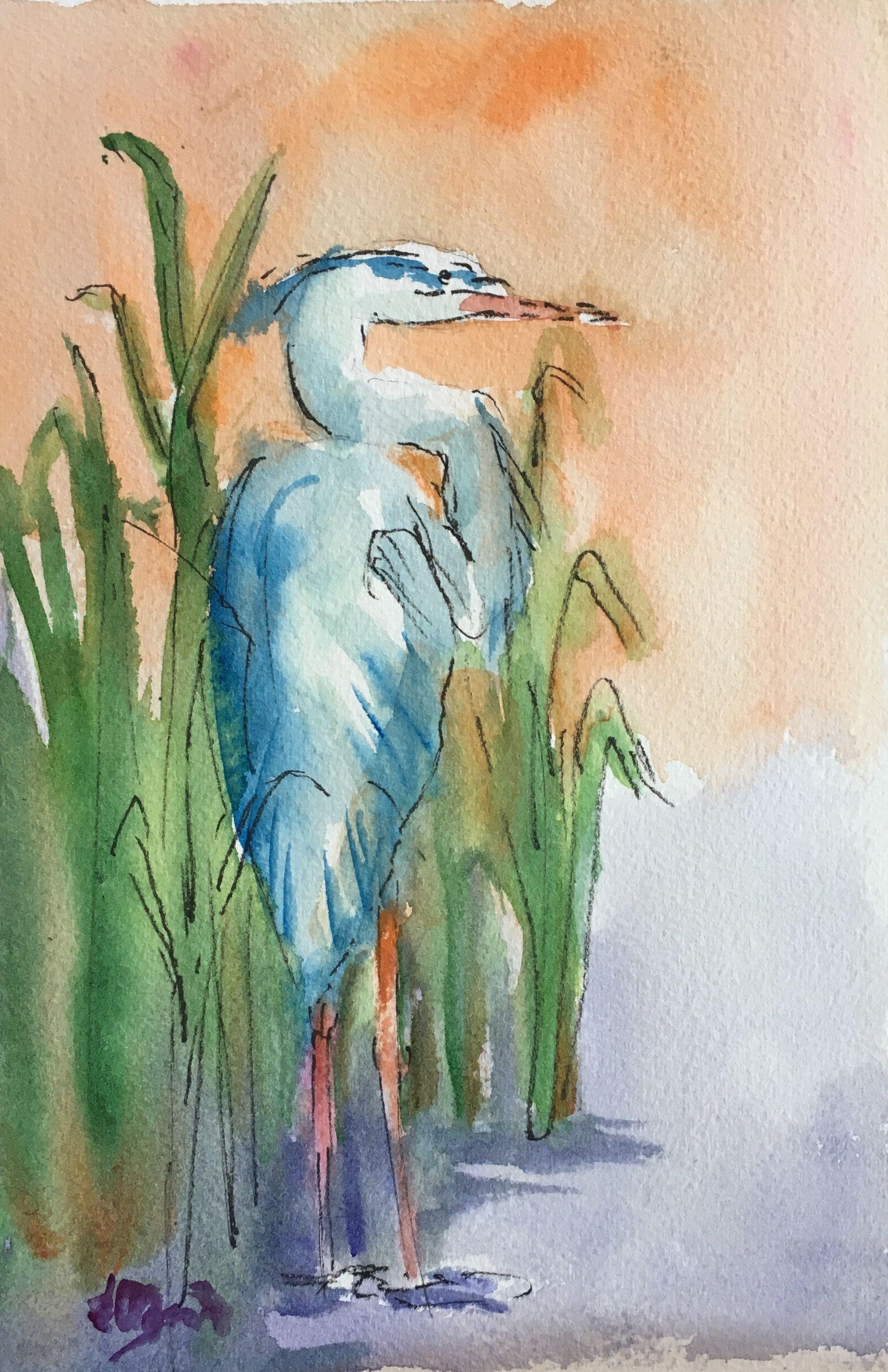 Watercolor Blue Heron 2 Simple Easy Sketch Pencils