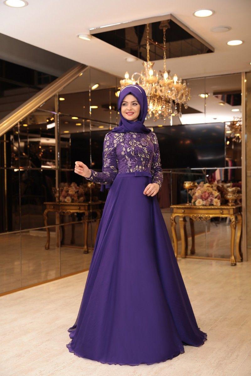 b0ed658ef6c9b Pınar Şems Melike mor abiye | حجاب (hijab) | Elbiseler, Türban ...