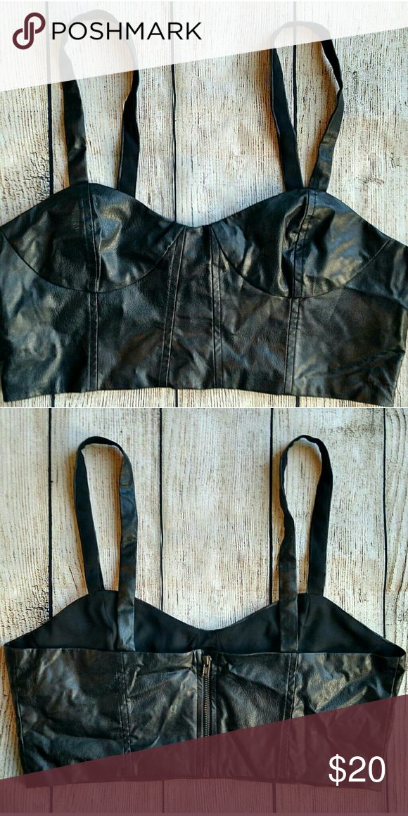 "New Lucca Couture faux leather bralette. Medium Zips in back. Lucca Couture for Urban Outfitters. Medium. Armpit to armpit 16"" Urban Outfitters Tops Crop Tops"